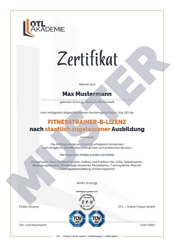 Muster-Zertifikat OTL Akademie